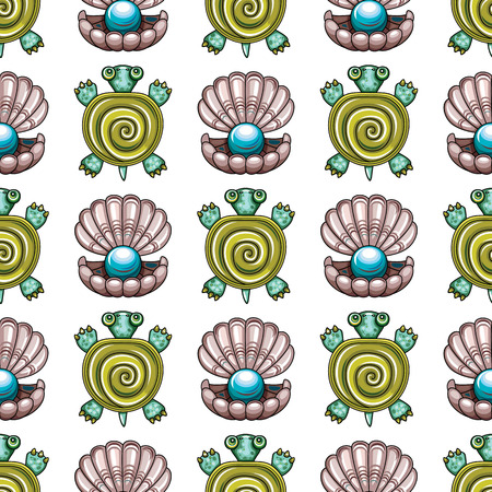 waves: Sea travel seamless background with underwater diving animals. Cartoon turtle and open pearl shell. Vector marine pattern, doodle summer vacation collection