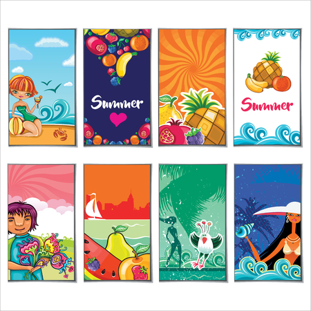 Vector set of summer templates with woman silhouette, tropical landscapes, juicy fruits, exotic cocktails, the seaside. Banners for vacation travel design, beach party invitation, on white Çizim