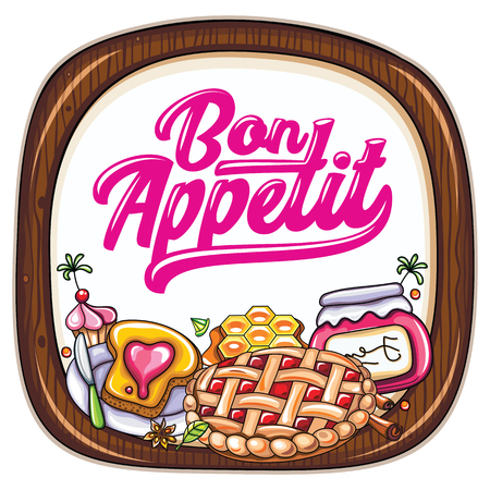 Vector food frame. Kitchen wooden chopping board. Bon appetit lettering. Sweet desserts: cherry pie, jam jar, honeycombs, crunchy toast, cupcake or muffin, cinnamon sticks.  Bakery or cafe template Иллюстрация