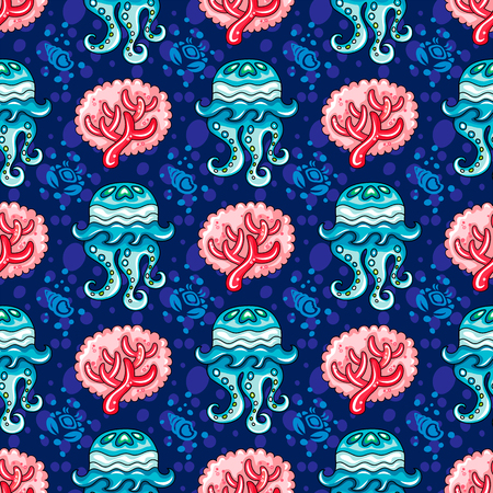 watercolour: Vector nautical pattern. Seamless texture with hand drawn doodle sea objects: reef coral branch, decorative tropical jellyfish, ocean waves, silhouette of seashells and crabs. Vector nautical background, Marine vacation collection