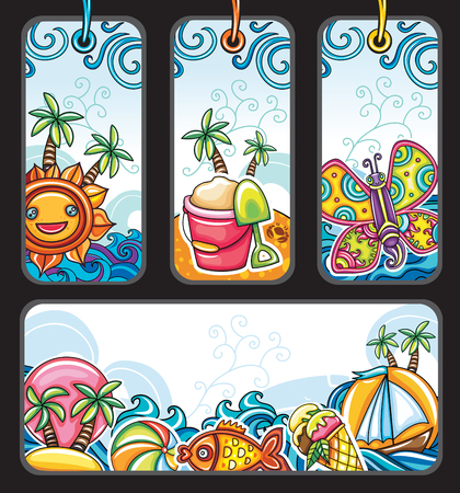 Vector set of summer vacation tags with palm, trees, cute butterfly, icecream cone, cheerful sun, boat, tropical fish, children sand bucket, beach ball, sea waves Cartoon labels sale. Design elements
