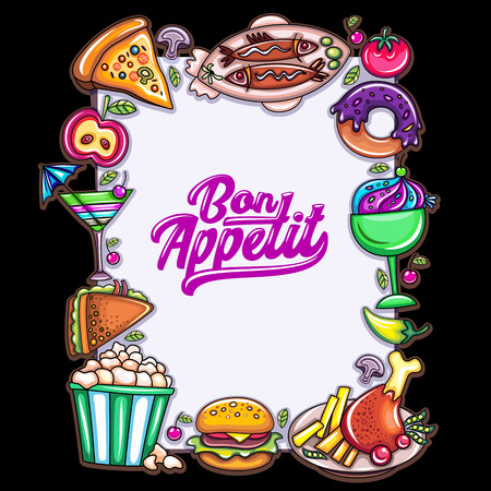 Food design template. Vertical frame for menu offer, with space for your text and colorful food icons.  Vector cartoon illustration, for cafe, restaurant, and food court specials.  Black background
