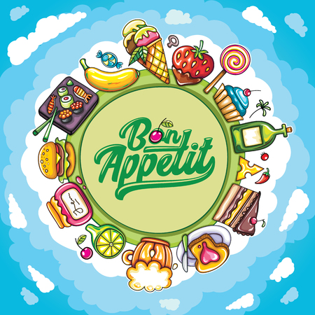 specials: Vector cartoon frame: Food and drink planet with delicious meal icons.  Place for your text. Bon appetit lettering. Tasty illustration: for cafe banners, restaurant cards, and food court specials Illustration