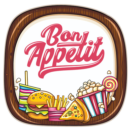Vector food frame. Kitchen wooden chopping board. Bon appetit lettering. Fast food icons: popcorn box, french fries, pizza slice, hamburger, cold soft drink, sweet lollypop. Cinema snacks junk food