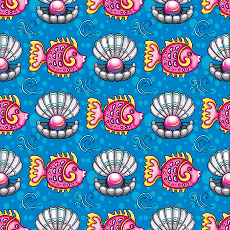 Sea travel seamless background with underwater diving animals. Cartoon tropical coral reef fish and open decorative pearl shell, seashells, silhouette crabs. Vector doodle pattern, summer vacation Illustration