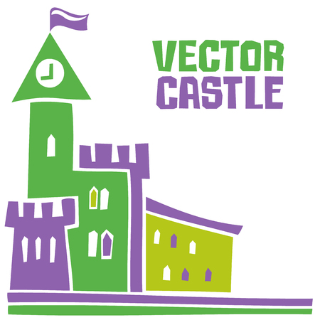 Simple fantastic Tower, Vector castle. Use it for Exterior construction design: city buildings, tourist signs. Beautiful old town cottage and colorful cityscape. Isolated on a white background Ilustração