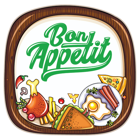 Vector food frame. Kitchen wooden chopping board. Bon appetit lettering. Roasted chicken and fries, fried egg, club sandwich, healthy vegetables and pizza slice. Restaurant or bar, lunch menu icons