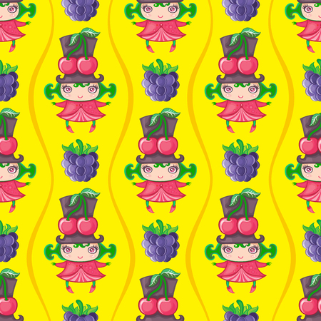 Seamless colorful pattern with cute little girl dressed fruity costume, wearing Cherry hat and blackberries. Endless texture isolated on yellow background. Can be used as wallpaper or wrapping paper