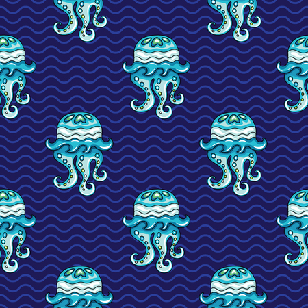 Vector ocean pattern. Seamless texture with hand drawn doodle sea decorative jellyfish and waves. Vector marine background. Undrerwater travel vacation collection. 版權商用圖片 - 79990185