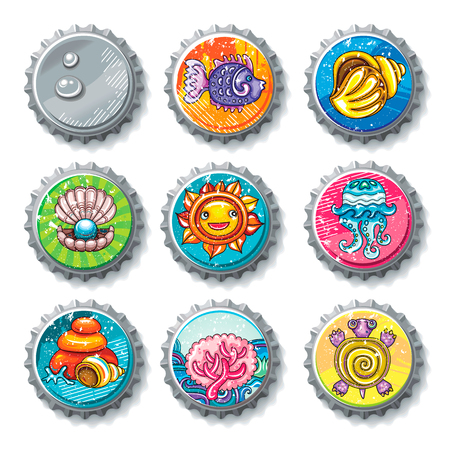 Vector set of metallic bottle caps, summer drawings on lids. Cartoon turtle, sea shell,  coral reef fish, vacation travel icons. Water drops, grunge textures.  Design elements on white background Illustration