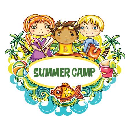 Kleurrijk bloemenkader met kleine kinderenvrienden, zandemmer, strandbal, en goudvis. Speelplaats in de zomer. Sjabloon voor het adverteren van website banners, kinderen uitnodiging voor feest, zomerkunst kamp