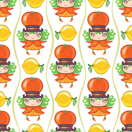 tropical: Seamless colorful pattern with cute little girl dressed fruity costume, wearing Tangerine or orange hat and lemon. Endless texture isolated on white background. Use it as wallpaper or wrapping paper Illustration