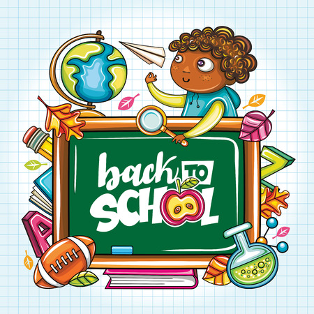 Vector education design concept with cartoon elements. Green blackboard, schoolboy with paper plane, football, leaves, back to school lettering, globe, magnifying glass, books. Seasonal sale banners Illustration