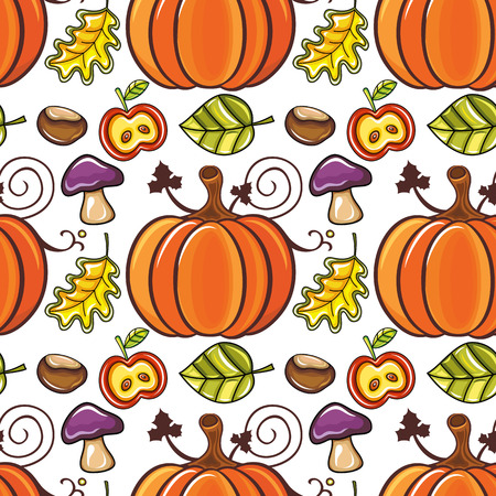 halloween background: Autumn seamless pattern with ripe pumpkins, mushrooms, apples and fall leaves isolated on white background. Abstract floral texture. Colorful cartoon backdrop. Cute template for thanksgiving prints, seasonal sale. Vector design elements