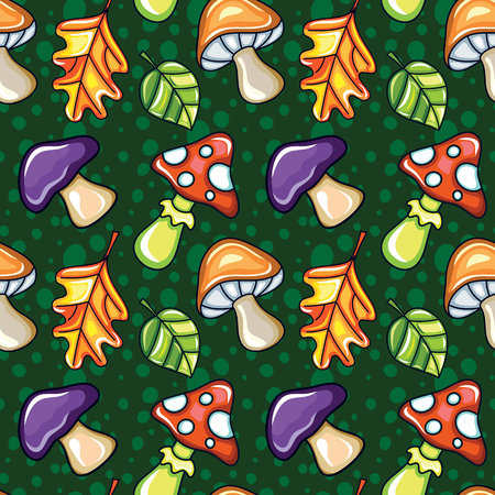 Autumn seamless pattern with ?manita, porcini mushrooms and oak leafs. Fall forest background. ?artoon texture. Colorful and cute template for children prints, Halloween party. Vector design elements