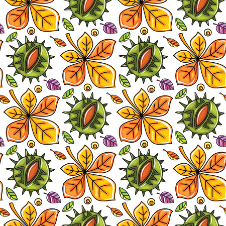 textured: Autumn seamless pattern with leaves and chestnut, fall leaf background. Abstract floral texture. Colorful cartoon. Cute template for fashion prints, seasonal sale, social media. Vector design elements