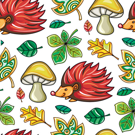 Autumn seamless pattern with chestnut and oak leaves, mushrooms and Hedgehog, fall leaf background. Floral texture. Template for fashion prints, seasonal sale, social media. Vector design elements