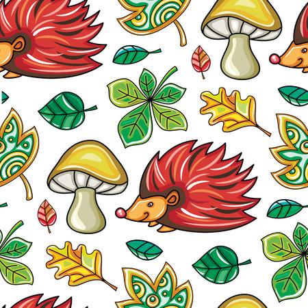 Nahtloses Muster des Herbstes mit Kastanien- und Eichenblättern, Pilzen und Igelen, Fallblatthintergrund. Florale Textur Vorlage für Modedrucke, Saisonverkauf, Social Media. Vektorgestaltungselemente Vektorgrafik