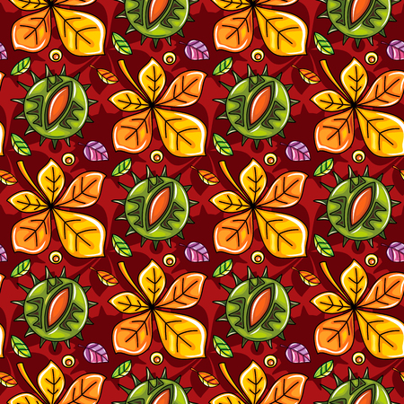Autumn seamless pattern with leaves and chestnut, fall leaf background. Abstract floral texture. Colorful cartoon. Cute template for fashion prints, seasonal sale, social media. Vector design elements