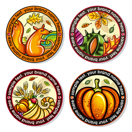 A Vector set of Seasonal Autumn round drink coasters with the design of leaves, nuts, squirrel, cornucopia, pumpkin for cold, hot beverages.  for bar, pub, coffee shop use.