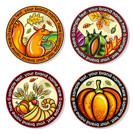 Un set vettoriale di sottobicchieri autunnali di autunno con il design di foglie, noci, scoiattoli, cornucopia, zucca per bevande fredde e calde. per bar, pub, uso caffetteria. Archivio Fotografico - 84815347