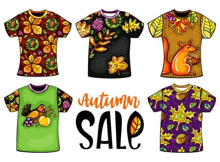 Satz von Vektor-bunte Vorlagen-T-Shirts für Männer und Frauen mit Herbst-Design. Herbstlaub, Ahorn und Kastanie, Vögel, Tiere. Für Druckereien, Mode-Saisonverkäufe, Shopping-Center-Installationen Standard-Bild - 84815549