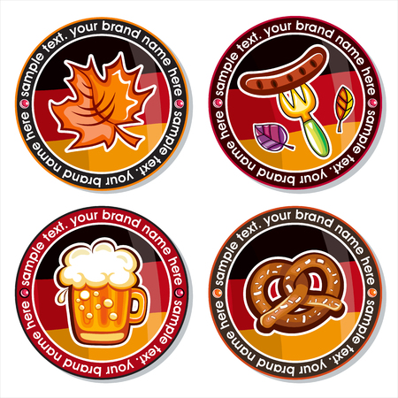 Oktoberfest set of round drink coasters for beer mugs, and beverages. Munich brewers hat, Beer glass, German flag, autumn leaf, sausage pretzels, Bavarian pattern. Vector icons on white background