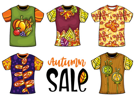 Set of vector colorful templates t-shirts for men and woman with autumn design. Fall leaves, maple and chestnut, birds, animals.  For print shops, fashion seasonal sales, shopping mall installations