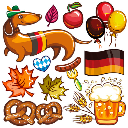 Oktoberfest set. Food and drink, beer mug, Munich brewers hat, dachshund dog with German flag, pretzels, hot dog, heart with Bavarian pattern, party balloons. Vector icons isolated on white background Ilustracja