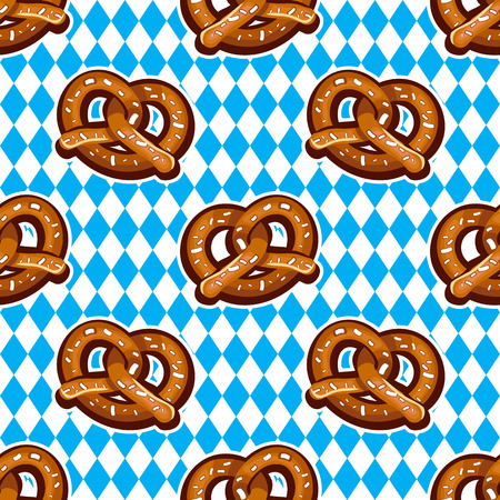 Beer snack seamless background. Vector pattern, baked salty fresh pretzels. National holiday German Oktoberfest beer fest. Food texture for textile, wrap paper, wallpaper, background, surface, cover