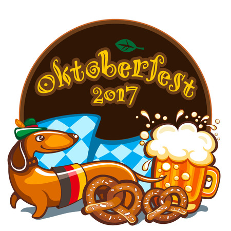 Oktoberfest celebration vector poster with lettering. German festival mug of beer, Bavarian flag, salty pretzels, Dachshund sausage dog in alpine hat. Festive Banners, headers, frames, and menu offers Иллюстрация