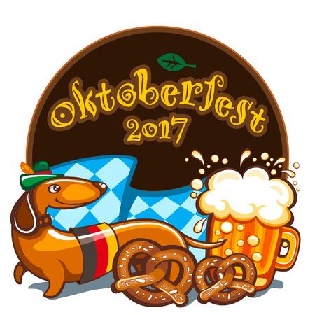 Oktoberfest celebration vector poster with lettering. German festival mug of beer, Bavarian flag, salty pretzels, Dachshund sausage dog in alpine hat. Festive Banners, headers, frames, and menu offers Illustration
