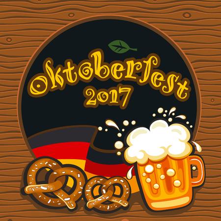 Oktoberfest celebration vector poster with lettering. German festival mug of beer, Bavarian flag, salty pretzels, traditional snacks and drinks. Round festive Banners, Headers, frames, and menu offers Vektoros illusztráció