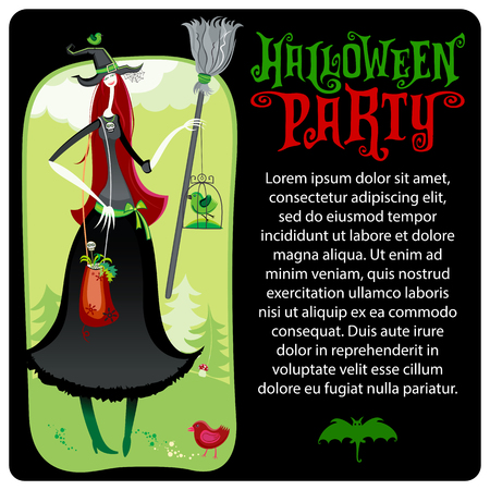 Halloween vector greeting card. Forest with mushrooms and green pine trees. Tall kind young witch, bird in the cage, holding broom, bag with healing herbs. Bat silhouette. Party invitation lettering