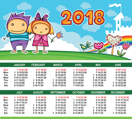 Vector calendar 2018 year. Colorful floral poster with little children boy and girl, flowers and magic castle. Summer location playground. Week starts from Sunday. Place for your text