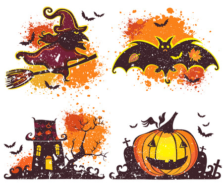 Halloween vector icons set. Grunge design elements with texture stains. Flying witch on broom, bat, haunted house with ghosts, Jack o Lantern, pumpkin with smiling face, isolated on white background