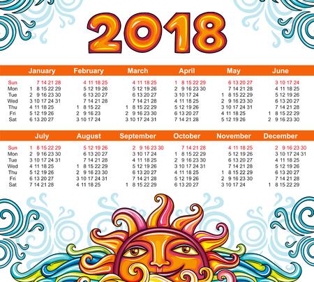 ベクトル カレンダー 2018 年、天体のスタイルです。装飾的な太陽と白い背景の青い渦の笑みを浮かべてください。週は日曜日から開始します。あな