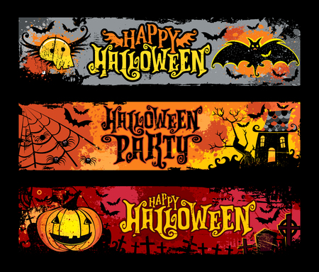 Halloween-vectorreeks horizontale grungebanners. Vliegende schedel, vleermuizen, spookhuis, spinnenweb, jack o lantern, pompoen, spookachtig kerkhof met kruisen en grafstenen. Happy Halloween-feest belettering