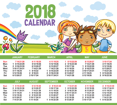 Vector calendar 2018 year. Colorful floral poster with little children friends, book, magnifying glass, birds, clouds and sky. Summer playground. Week starts from Sunday. Place for your text Illustration