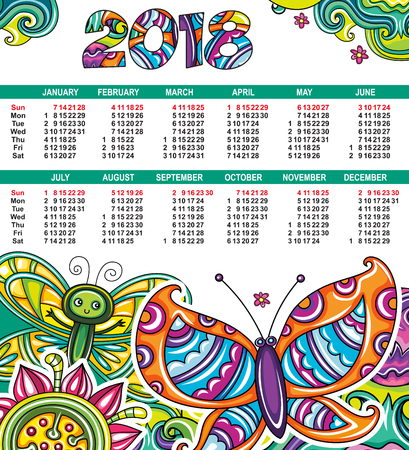 Vector calendar 2018 year. Colorful floral colorful poster with little butterflies, flowers and leaves. Week starts from Sunday. Decorative 2018 lettering. Swirl, doodle patterns. Place for your text