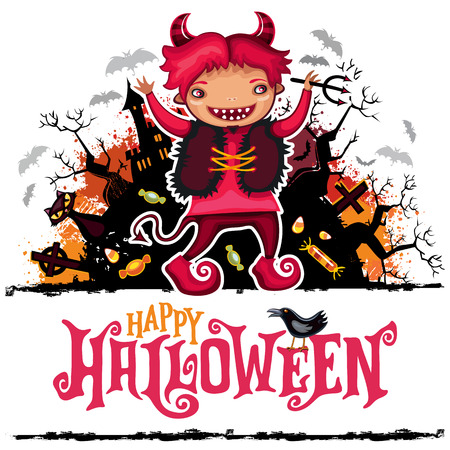 Halloween vector card. Teenage boy wearing devil celebration costume with horns, cat, grunge design elements with texture stains, Happy Halloween lettering, flying ghosts, bats, haunted castle, tree.