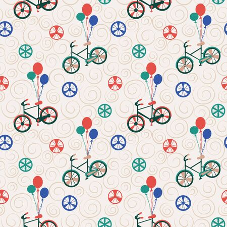 Vector Bicycle weekend illustration, seamless pattern, with balloons, flowers, wheels, pastel and colours