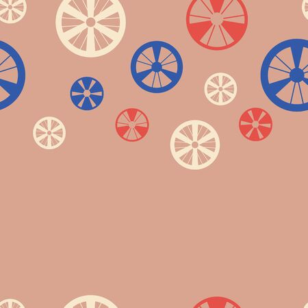 Vector wheels illustration, pastel seamless pattern, with wheels.