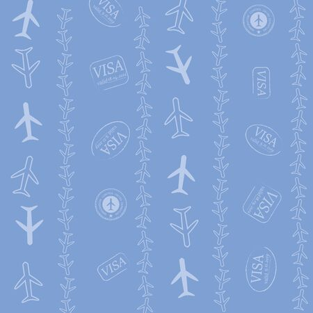 Baby Blue Vector Passport Stamps Repeat Pattern.Travel The World Seamless Illustration. Illustration