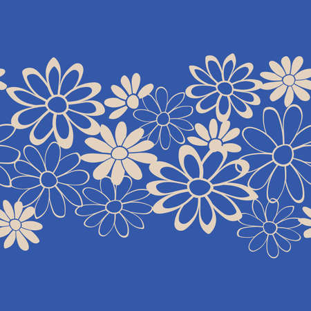 Floral Lace Vector Seamless Illustration. Indigo Blue Repeat Pattern