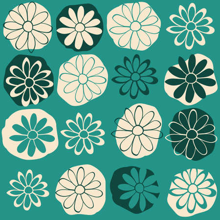 Dots and Flower Vector Seamless Illustration. Green Repeat Pattern