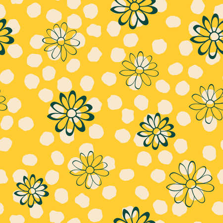 Dotted Flower Vector Seamless Illustration. Yellow Repeat Pattern