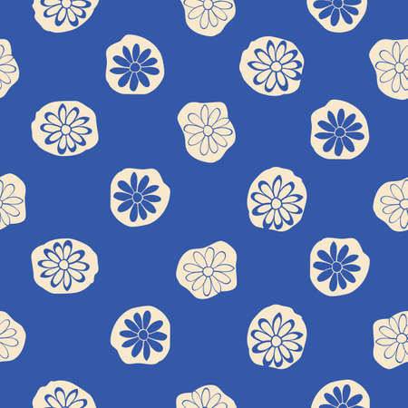 Indigo Blue Floral Lace Vector Seamless Illustration, Repeat Pattern