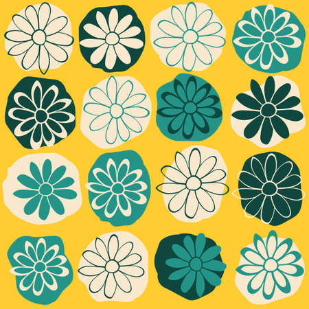 Dots and Flowers Vector Seamless Illustration. Green Yellow Repeat Pattern