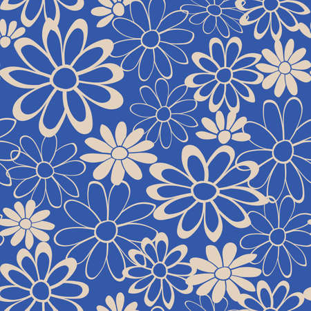 Blue Floral Lace Vector Seamless Illustration, Repeat Pattern